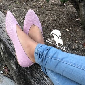 LAST1 Pointed Toe Knitted Fabric Ballerina Flats